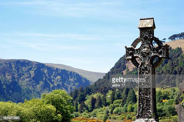 Irish high cross and landscape
