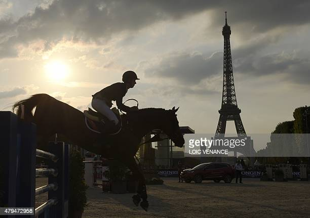 Irish horse driver Bertram Allen riding Romanov competes to win the Longines Global Champions Tour Grand Prix de Paris during the second edition of...