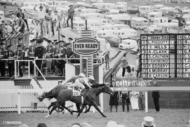 Irish jockey Christy Roche riding Thoroughbred racehorse Secreto at the Epsom Derby, Epsom Downs Racecourse, UK, 6th June 1984.