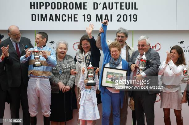 Irish jockey Davy Russell riding Carriacou compete in the 141st edition of the Grand SteepleChase de Paris on May 19 at the Auteuil Hippodrome in...