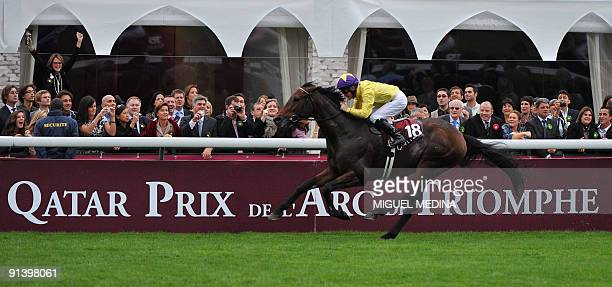 Irish jockey Mickael Kinane on Sea the Stars competes during the 88th edition of the Arc de Triomphe prize at the Longchamp racecourse in Paris on...