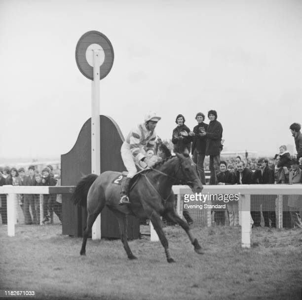 Irish jockey Pat Taaffe rides racehorse Gay Trip at the 1970 Grand National at Aintree racecourse near Liverpool, UK, 4th April 1970.