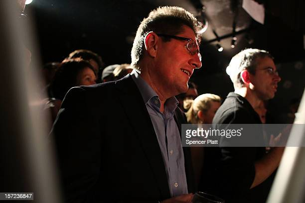 Irish journalist and former professional cyclist Paul Kimmage watches riders participate in the NY Velocity Roller Race at The Parkside Lounge in New...