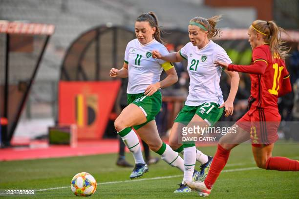 Irish Katie McCabe and Irish Ruesha Littlejohn pictured in action during a friendly women's soccer game between Belgium's national team the Red...