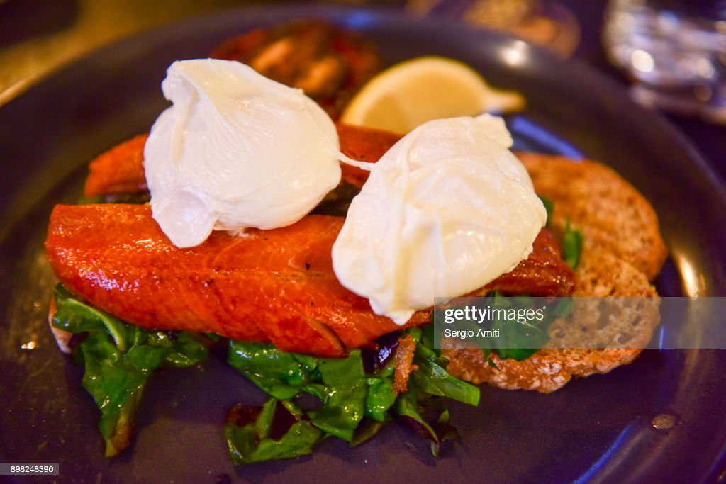 Irish kippers and poached eggs : Stock Photo