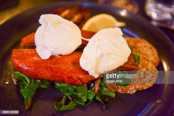 Irish kippers and poached eggs