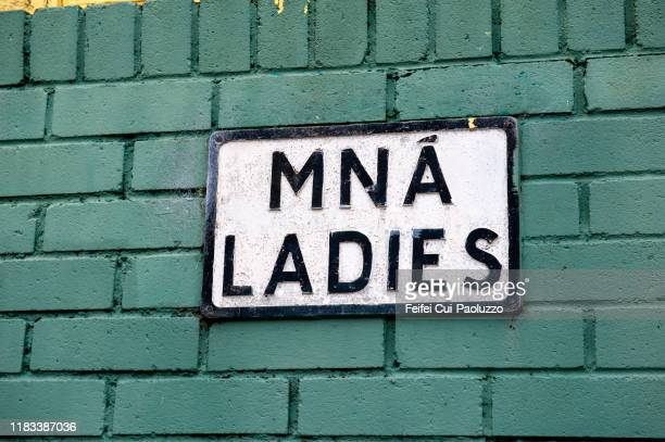 irish ladies restroom sign timoleague, cork county, ireland - public toilet stock pictures, royalty-free photos & images