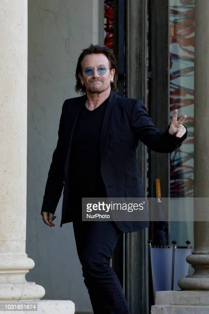 Irish lead singer of rock band U2, Paul David Hewson aka Bono arrives at the Elysee Palace, in Paris, ahead of a meeting with French President, on...