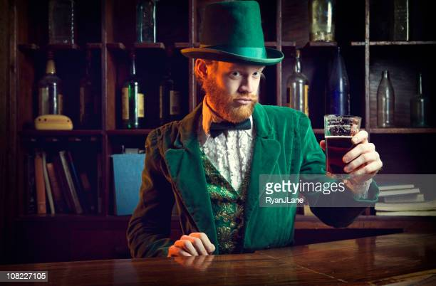irish / leprechaun character series with pint of beer - tail coat stock pictures, royalty-free photos & images