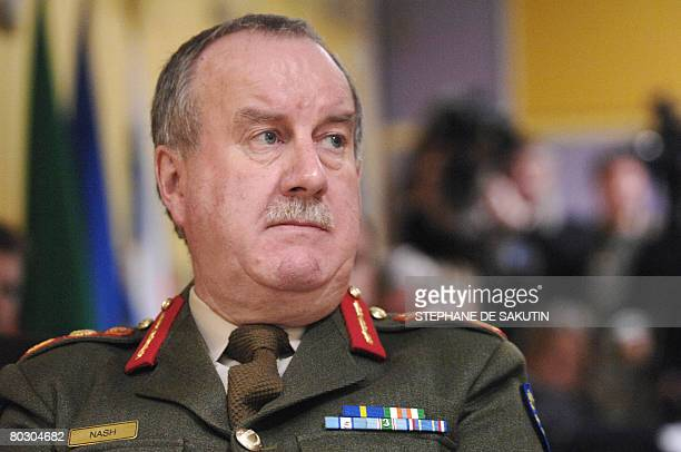 Irish Lieutenant General Patrick Nash, head of the, Eufor, EU's peacekeeping mission to Chad, gives a press conference on March 19, 2008 in Suresnes,...