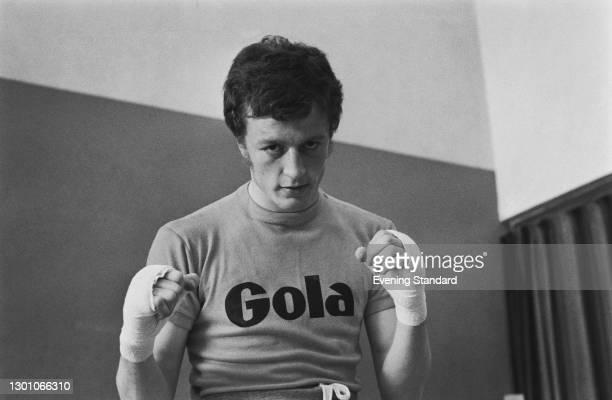 Irish lightweight boxer Neville Cole wearing a 'Gola' t-shirt, UK, 29th May 1973.