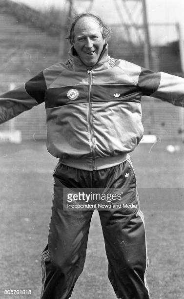 Irish Manager Jack Charlton encourages his squad during a training session at Dalymount park April 23 1990