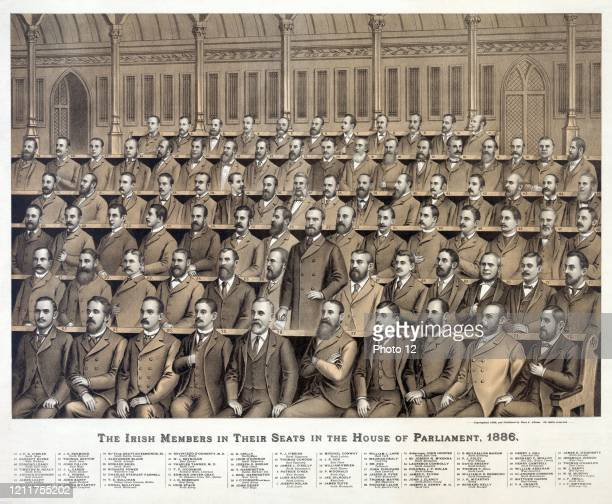 Irish members in their seats in the House of Parliament; 1886 from back to front; 1. Alexander Blane; 2. J.D. Sheehan; 3. Sir Joseph N. M'Kenna; 4....