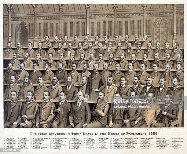 Irish members in their seats in the House of Parliament 1886 from back to front 1 Alexander Blane 2 JD Sheehan 3 Sir Joseph N M'Kenna 4 Donal...