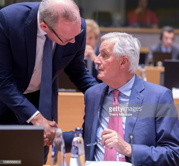 Irish Minister for Foreign Affairs and Trade Simon Coveney is talking with the European Chief Negotiator for the United Kingdom Exiting the European...