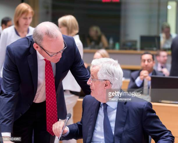 Irish Minister for Foreign Affairs Trade Simon Coveney is talking with the European Chief Negotiator for the United Kingdom Exiting the European...