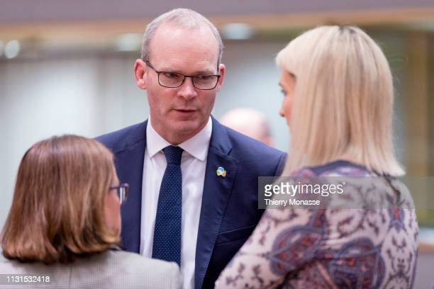 Irish Minister for Foreign Affairs Trade Simon Coveney is talking with the Irish Minister of State for European Affairs Helen McEntee prior an EU...