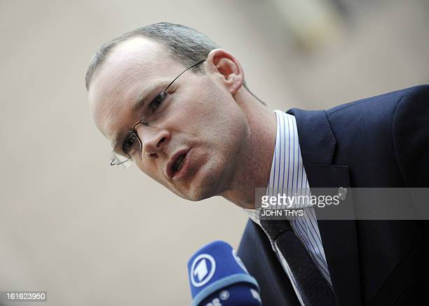 Irish Minister of Agriculture Food the Marine Simon Coveney answers journalists' questions before an Informal Agriculture meeting on ' Mislabelling...
