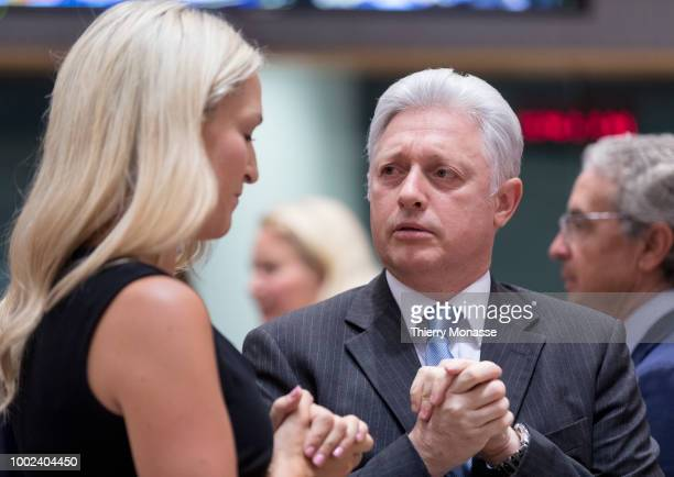 Irish Minister of State for European Affairs Helen Louise McEntee is talking with the Slovenian Secretary of state Iztok Mirosic prior an EU General...