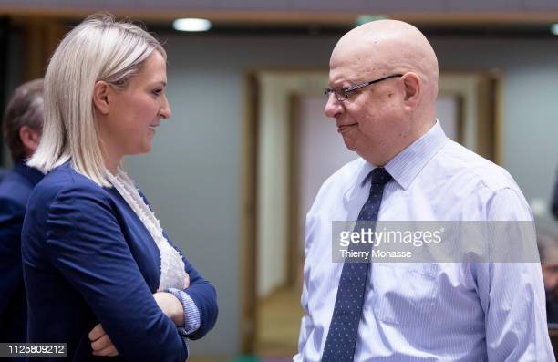 Irish Minister of State for European Affairs Helen Louise McEntee is talking with the Cyprus Ambassador Nicholas Emiliou during a General affairs...
