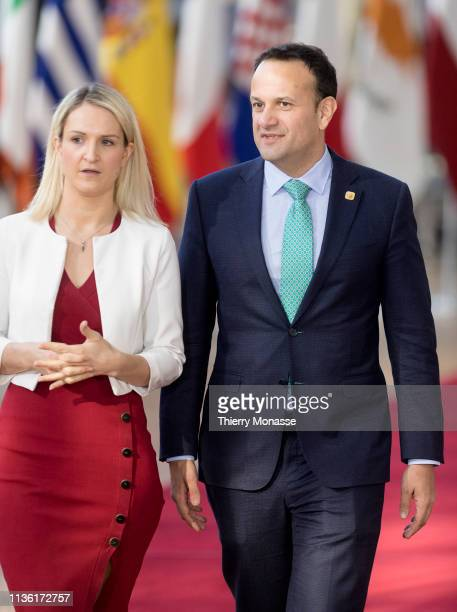 Irish Minister of State for European Affairs Helen McEntee and the Irish Taoiseach Leo Varadkar arrive ahead of a European Council meeting on Brexit...