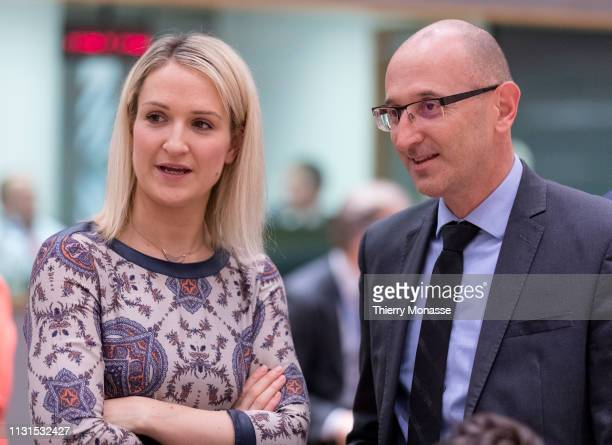 Irish Minister of State for European Affairs Helen McEntee is talking with the Slovenian State secretary Dobran Bozic prior an EU General affairs...