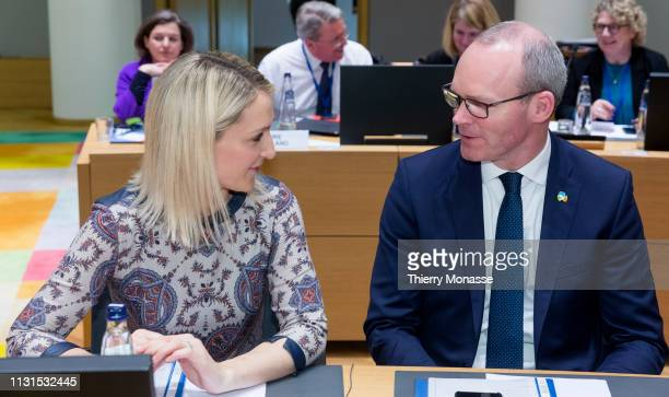 Irish Minister of State for European Affairs Helen McEntee is talking with the Irish Minister for Foreign Affairs Trade Simon Coveney prior an EU...