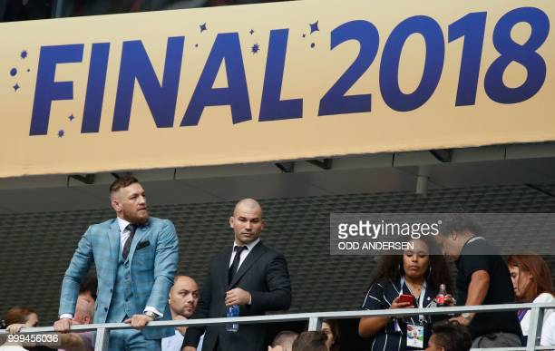 Irish mixed martial artist Conor McGregor attends the Russia 2018 World Cup final football match between France and Croatia at the Luzhniki Stadium...