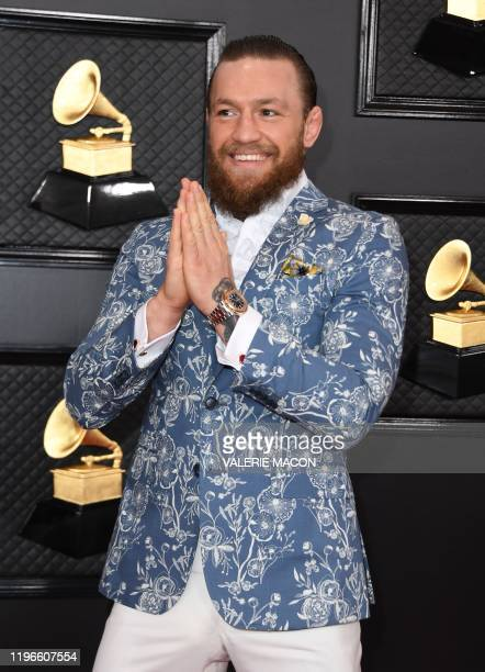 Irish mixed martial arts artist Conor McGregor arrives for the 62nd Annual Grammy Awards on January 26 in Los Angeles