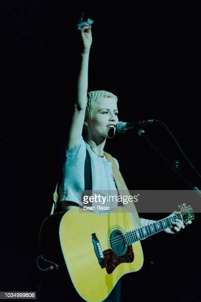 Irish musician Dolores O'Riordan performs live on stage with The Cranberries at the Royal Albert Hall in London on 12th January 1995