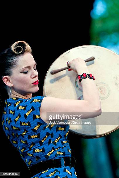 Irish musician Imelda May plays a bodhran as she performs on Central Park's SummerStage New York New York July 27 2011