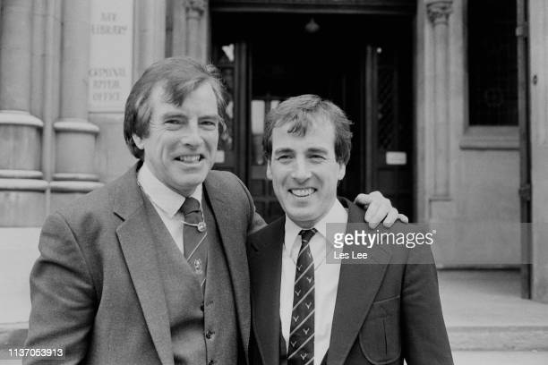 Irish musicians, brothers Conleth 'Con' Cluskey and Declan 'Dec' Cluskey of pop group The Bachelors, UK, 7th February 1984.