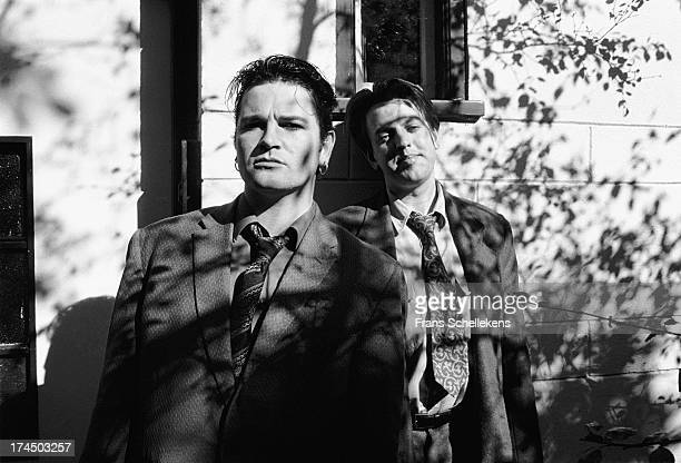 Irish musicians Gavin Friday ex- Virgin Prunes and Maurice Seezer posed at the VPRO studios in Amsterdam, Netherlands on 10th May 1989.