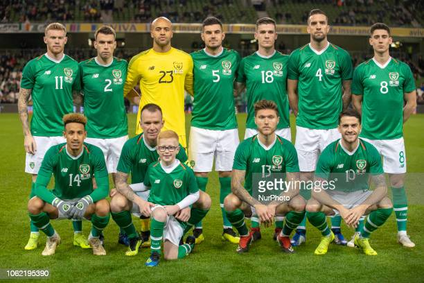 Irish national football team poses for a photo during the International Friendly match between Republic of Ireland and Northern Ireland at Aviva...