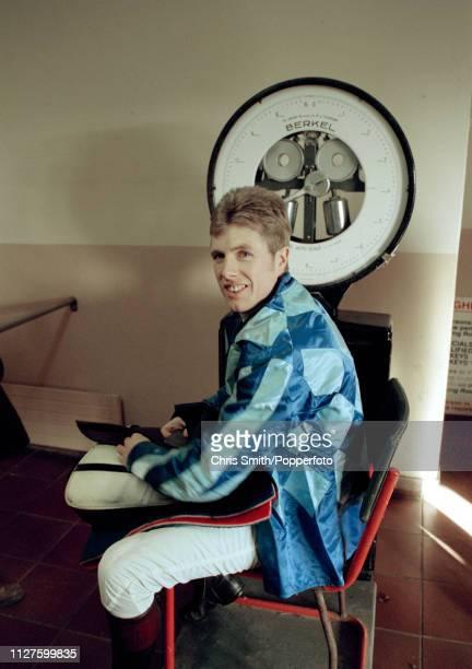 Irish National Hunt jockey Charlie Swan in the weighing room circa 1995