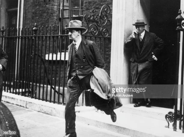 Irish nationalist politician, soldier and Sinn Fein leader Michael Collins , Minister for Defence, leaving 10 Downing Street, London, during treaty...