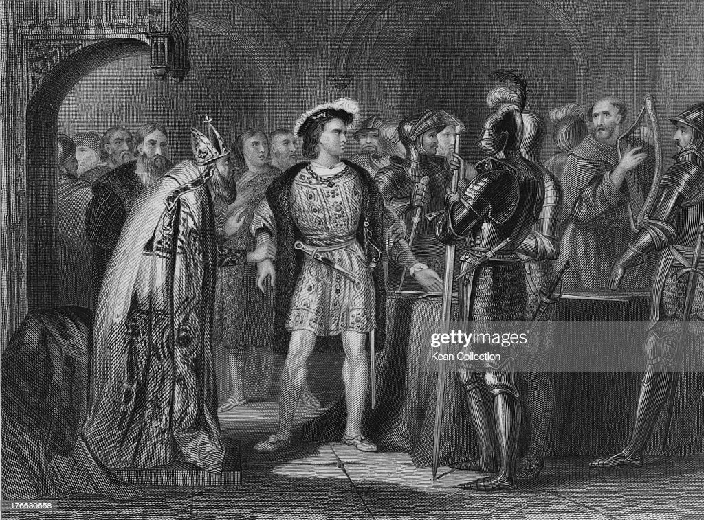 Irish nobleman Thomas FitzGerald, 10th Earl of Kildare (1513 - 1537) renounces his allegiance to King Henry VIII (1491 - 1547) at St Mary's Abbey in Dublin, 11th June 1534. He had heard that his father, Gerald FitzGerald, had been executed in the Tower of London. Engraving by J. Rogers after H. Warren.