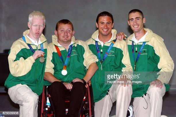 2004 Irish Paralympians Conall McNamara from Achill Co Mayo silver medallist in the 400M John McCarthy from Dunmanway Co Cork silver medallist in the...