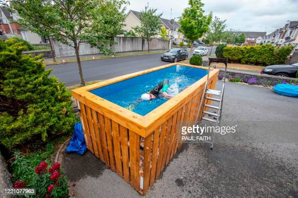 Irish Paralympic hopeful Leo Hynes who is legally blind trains in his homemade training pool in his front garden at home in Tuam Co Galway west...