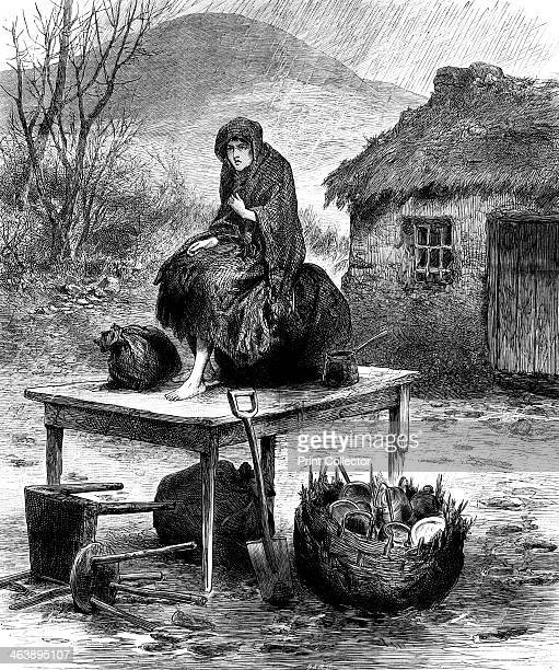 Irish peasant girl guarding the family's last few possessions after eviction for nonpayment of rent From The Illustrated London News April 1886 Wood...