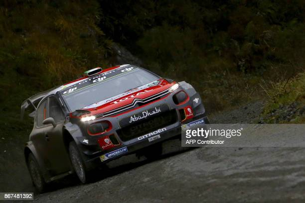 Irish pilot Craig Breen and co pilot Scott Martin of Citroen Total Abu Dhabi WRT compete in their Citroen C3 WRC during special stage 11 of the Wales...