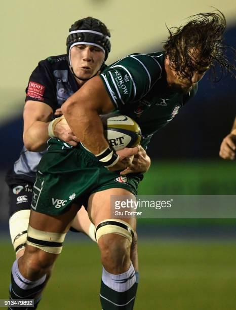 Irish player Arno Botha makes a break during the AngloWelsh Cup match between Cardiff Blues and London Irish at Cardiff Arms Park on February 2 2018...