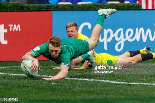 Irish player dives in to score a try that was eventually disallowed in Match Australia vs Ireland during the LA Sevens Round 5 of the HSBC World...