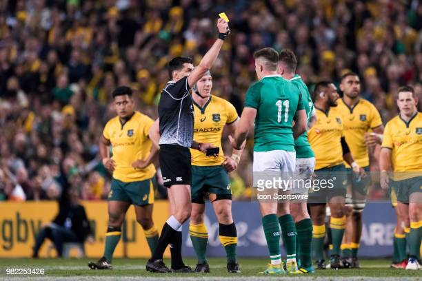 Irish player Jacob Stockdale given a yellow card at the rugby test match between Australia and Ireland at Allianz Stadium in Sydney on June 23 2018