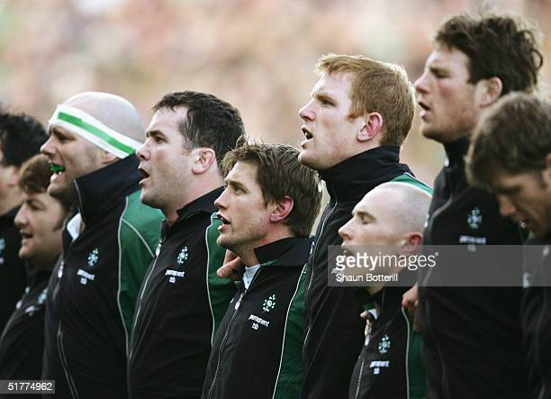 Irish players sing their National Anthem prior to the Rugby Union International between Ireland and South Africa at Lansdowne Road on November 13,...