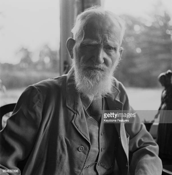 Irish playwright George Bernard Shaw at his home Shaw's Corner in Ayot St Lawrence Hertfordshire shortly before his 90th birthday July 1946