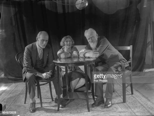 Irish playwright George Bernard Shaw in conversation with actress Sybil Thorndike and her husband Lewis Casson at the Phonofilm studio July 1927