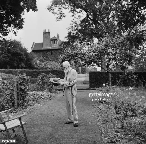 Irish playwright George Bernard Shaw in the garden of his home Shaw's Corner in Ayot St Lawrence Hertfordshire July 1946