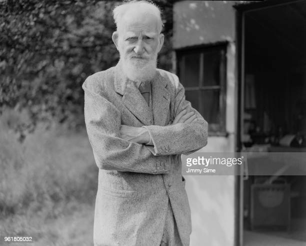 Irish playwright George Bernard Shaw in the garden of his home Shaw's Corner in Ayot St Lawrence Hertfordshire three days before his 90th birthday...