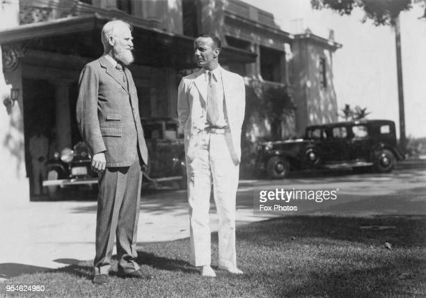 Irish playwright George Bernard Shaw visits Theodore Roosevelt Jr Governor General of the Philippines at the Governor's Palace in Manila during his...